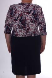 Dámske elastické šaty s imitáciou kabátika VZOR 2. - tmavomodro-biele #1