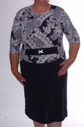 Dámske elastické šaty s krajkovým vzorom a ozdobou - tmavomodro-biele D3