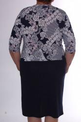 Dámske elastické šaty s krajkovým vzorom a ozdobou - tmavomodro-biele D3 #1