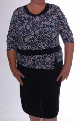 Dámske elastické šaty s kruhmi - tmavomodro-biele