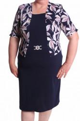 Dámske elastické šaty s ozdobou a listami - tmavomodré