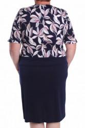 Dámske elastické šaty s ozdobou a listami - tmavomodré #1