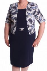 Dámske elastické šaty s ozdobou a s imitáciou kabátika - tmavomodro-biele