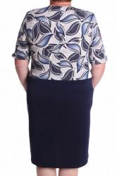 Dámske elastické šaty s ozdobou a s imitáciou kabátika - tmavomodro-biele #1