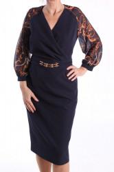 Dámske elastické šaty s ozdobou - tmavomodré D3