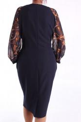 Dámske elastické šaty s ozdobou - tmavomodré D3 #1