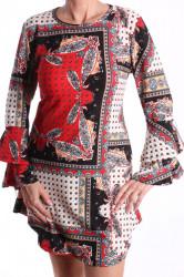 Dámske elastické šaty s volánikmi vzorované - červené D3