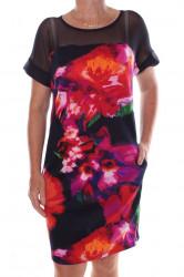 Dámske elastické šaty so zipsom a s vreckami - tmavomodré