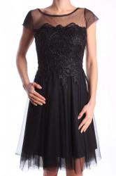 Dámske elastické šaty tylové s čiernym vyšívaným vzorom - čierne D3