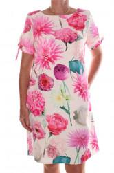 Dámske elastické šaty vzorované - krémovo-ružové