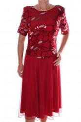 Dámske elastické spoločenské šaty s trblietavým vrchom - bordové