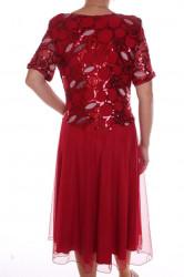Dámske elastické spoločenské šaty s trblietavým vrchom - bordové #1