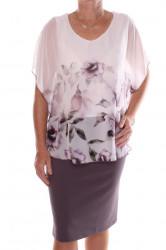 Dámske elastické spoločenské šaty so silonovým vrchom - sivo-fialové