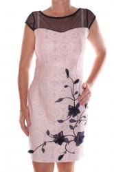 Dámske elastické spoločenské šaty so strieborným vzorom - tmavomodro-ružové