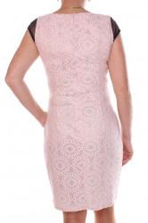Dámske elastické spoločenské šaty so strieborným vzorom - tmavomodro-ružové #1
