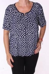 Dámske elastické tričko s kockami a so sponou - tmavomodro