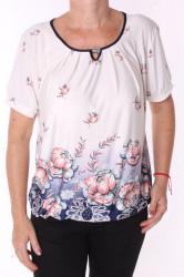Dámske elastické tričko s kvetmi a so sponou - krémové
