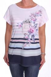 Dámske elastické tričko s pásikmi a kvetmi - biele