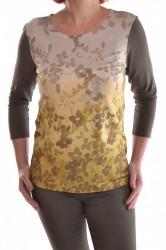 Dámske elastické tričko so zelenými kvetmi - olivovo-zelené