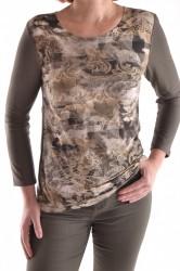 Dámske elastické tričko so žltým vzorom - olivovo-zelené