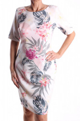 Dámske elastické vzorované šaty M&M - biele D3