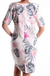 Dámske elastické vzorované šaty M&M - biele D3 #1