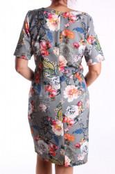 Dámske elastické vzorované šaty M&M - sivé D3 #1