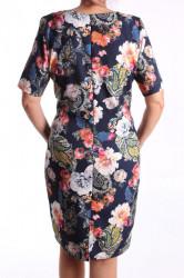 Dámske elastické vzorované šaty M&M - tmavomodré D3 #1