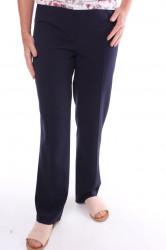 Dámske elegantné elastické nohavice s opaskom - tmavomodré