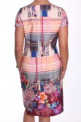 Dámske elegantné šaty vzorované - oranžovo-sivé #1