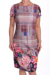 Dámske elegantné šaty vzorované - ružovo-sivé