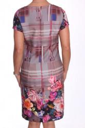 Dámske elegantné šaty vzorované - ružovo-sivé #1