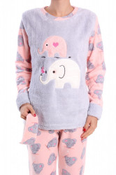 Dámske flísové pyžamo (7016) - bledosivé