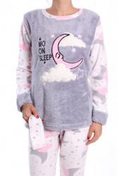 Dámske flísové pyžamo (7019) - sivé