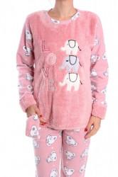 Dámske flísové pyžamo (7028) - staroružové