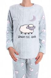 Dámske flísové pyžamo (7037) - bledozelené