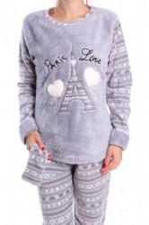Dámske flísové pyžamo (7039) - sivé