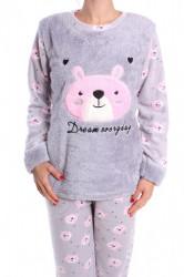 Dámske flísové pyžamo (7040) - sivé