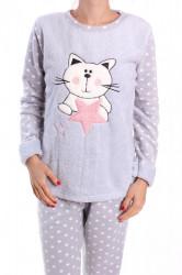Dámske flísové pyžamo (7064) - bledosivé