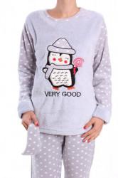 Dámske flísové pyžamo (7066) - bledosivé