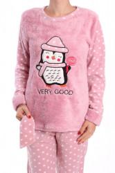 Dámske flísové pyžamo (7066) - staroružové