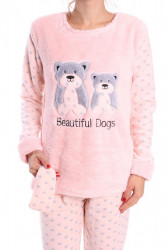 Dámske flísové pyžamo (7072) - marhuľové