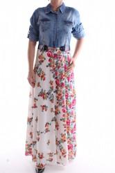 Dámske kombinované rifľové šaty s opaskom - ružovo-modré