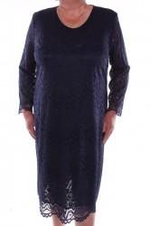 Dámske krajkové šaty - tmavomodré