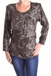 Dámske luxerové tričko vzorované - zlato-čierne veľkosť
