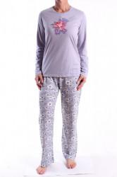 Dámske pyžamo (N2313) s kvietkami - bledofialové