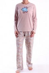 Dámske pyžamo (N2313) s kvietkami - staroružové