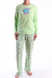 Dámske pyžamo (N2313) s kvietkami - zelené