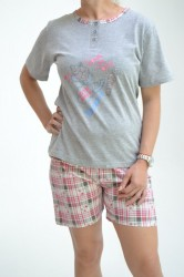 903eb8cb5 Dámske pyžamo s krátkymi nohavicami - sivo-ružové D3