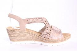 Dámske sandále na platforme RIEKER 61916-31 - rosa-bledoružové - so vzorom (v. p. 6 cm) #1